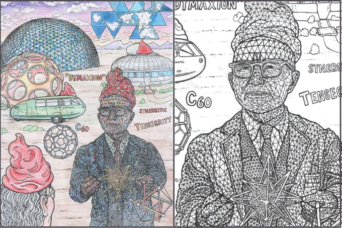 Buckgnomester Fuller the Geodesic Gnome - / - with close up on some of his details