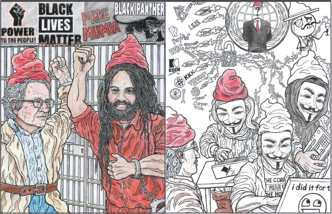 Noam Gnome in solidarity with his friend Gnumia Abu Jamal / Agnonymous Hackers at work (half in color)