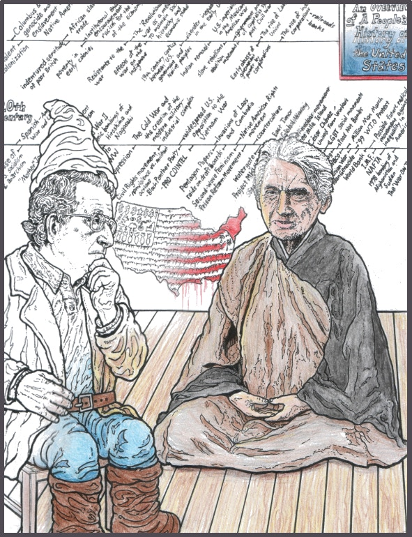 Garden Noam meditating on history with his friend Howard the Zinn Monk (half-colored in example image)