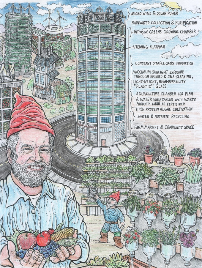 Practicing progressive gardening methods with the Vertical Gardening Gnomes together with Dickson Desgnommier and Vertical Farming strategies (sample image colored in with colored pencils)
