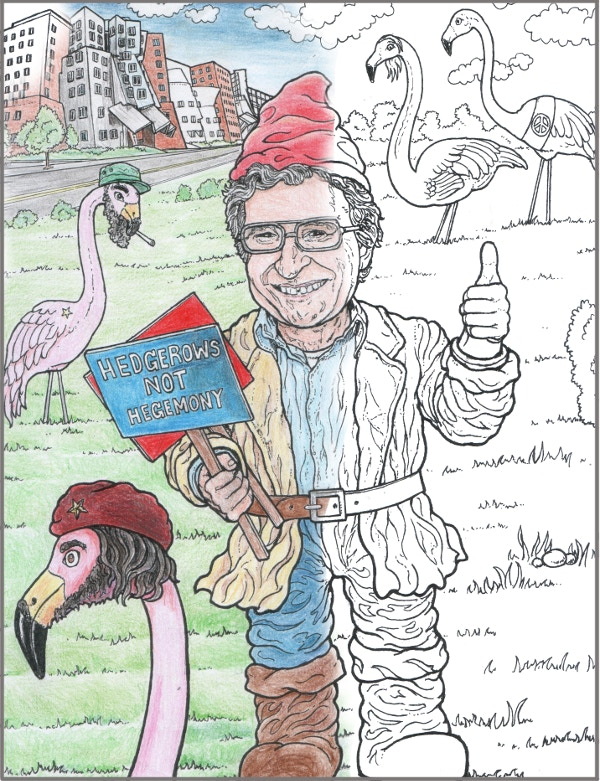 Gnome Chomsky at the MIT Campus with Pinko Flamingo Friends - Che FlaminGoervara, Flamingo del Castro, etc - part colored-in example.