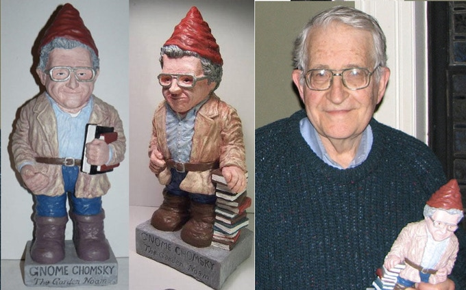 The two versions of Gnome Chomsky the Garden Noam - and the Real Noam with a Noam Gnome (Garden Noam statues and real Noam not included in coloring book. Sorry.)