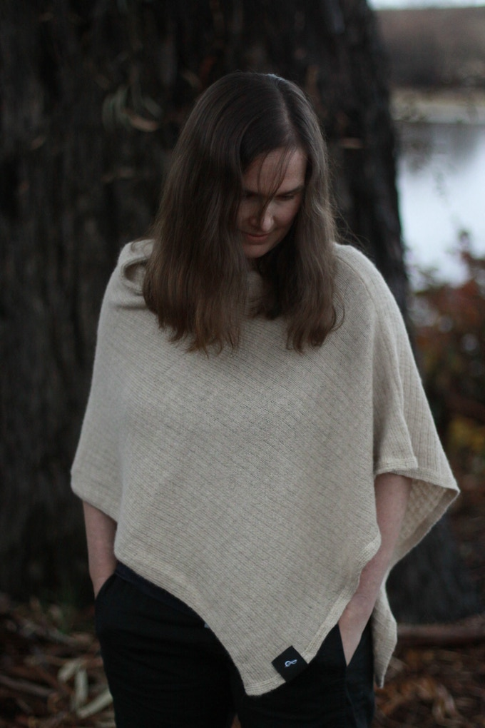 Prelude Poncho - modelled by Nadine in Vanilla Milkshake colourway