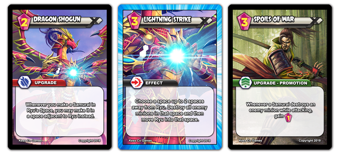 Different types of basic cards: Upgrades, Effects, Promotions