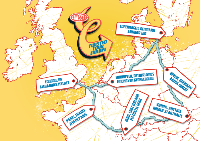 The official stops on Twisted Tour Europe