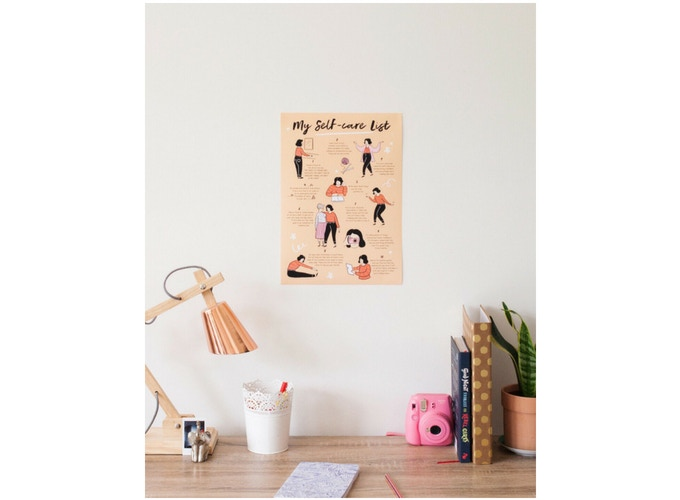 10 self-care suggestions that you can put up in your child's room to act as a visual reminder to practice self-care. Also looks cute in an adults room too!