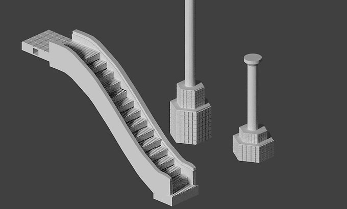 For second floor options, you can add escalators and support columns where needed for catwalks and to help large roof builds.