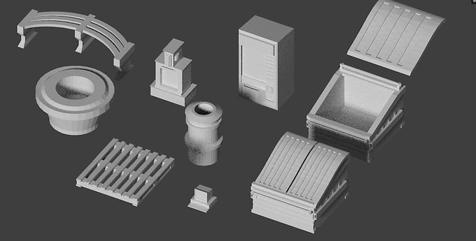 Basic scenery for more detailed mall interiors including tree planters, vending machines, and removable lid and open dumpster options for hiding your 28 mm figures!