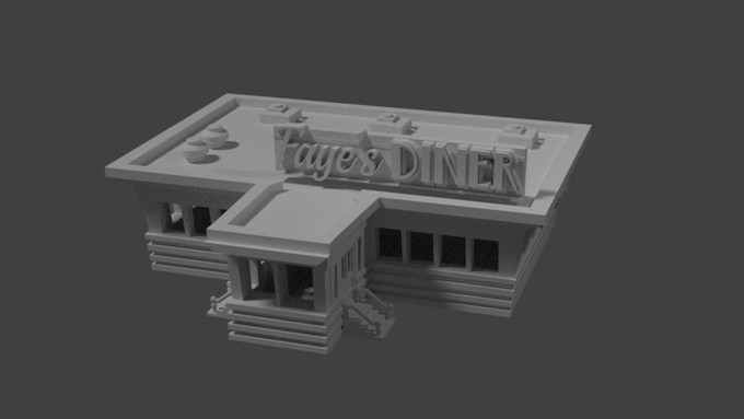 $8,000 - Fayes Diner comes in three pieces, and features a full interior for miniatures!