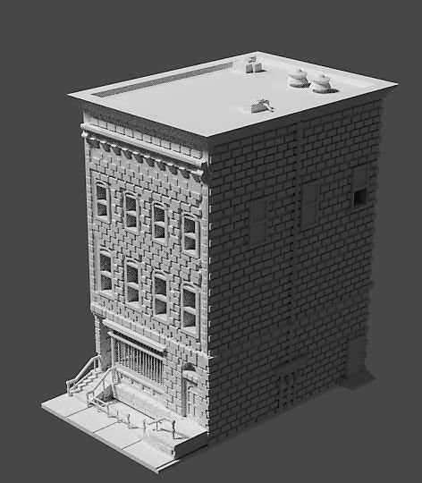 $10,000 - The two-story brick structure comes with an interior on the first floor, store front, walkway, railings, and is stackable in three parts for easier printing options.