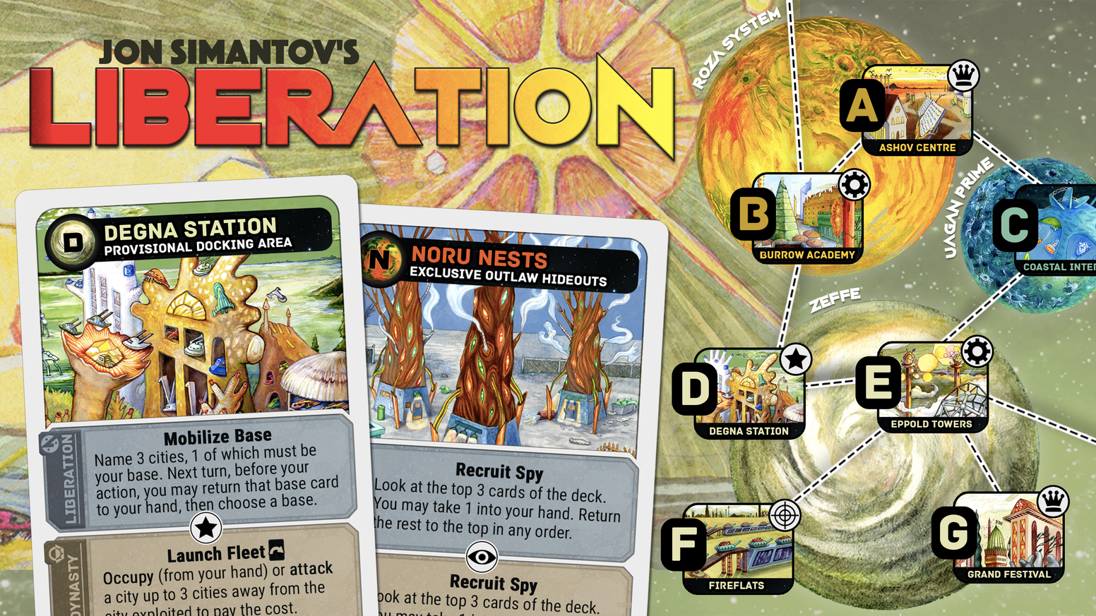 Visit us at https://buttonshygames.com/products/liberation-pre-order to pre-order. A pocket-sized rebellion of galactic scale for two players. Comes with free Warped World expansion. Only $10 plus shipping!