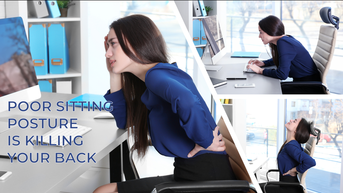 A prolonged period in the hunched position results in back pain.
