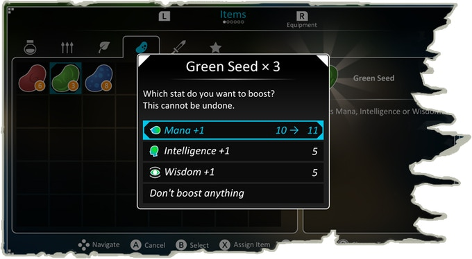 Use seeds to boost your stats!