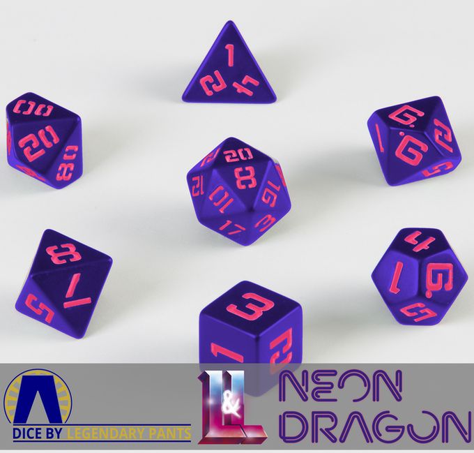 Unlocked! Official Retroverse Dice! Pink numbers on purple dice with a glossy finish
