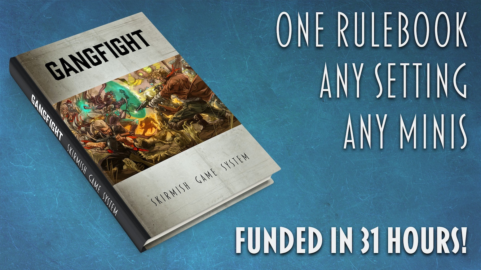 Hardcover rulebook for our universal tabletop skirmish game rules. Play with any minis you want, in any setting you want!