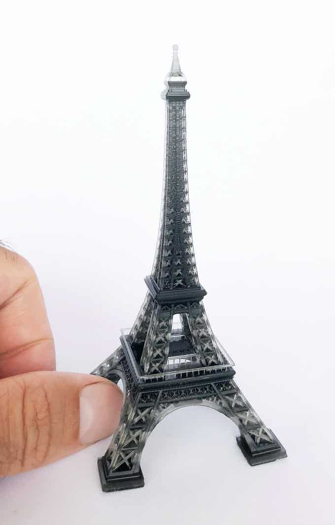 The Eiffel Tower by CheeseJam printed in EZResin Black. This print shows the crisp details the Lotus EZ can produce with ease