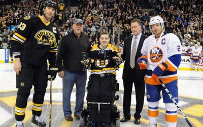 Matt and Mike Brown preparing to drop the opening puck at the B's/Islander's game with Zdeno Chara