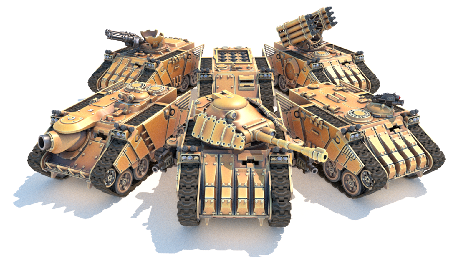 Many vehicles in one. Swap modules on the go and make a troop carrier, battle tank, rocket artillery, assault gun and more.