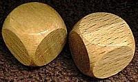 a blank wooden die as stretch goal reward