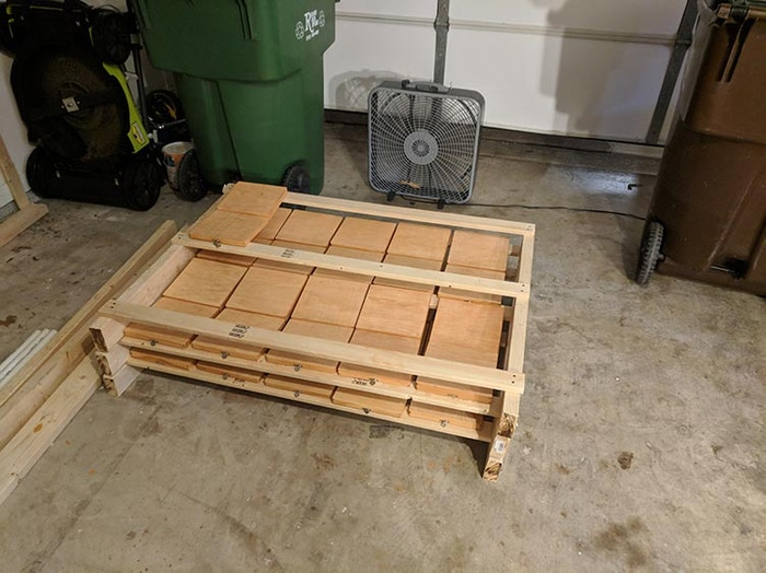 The last of the Colonial maple boxes drying after staining