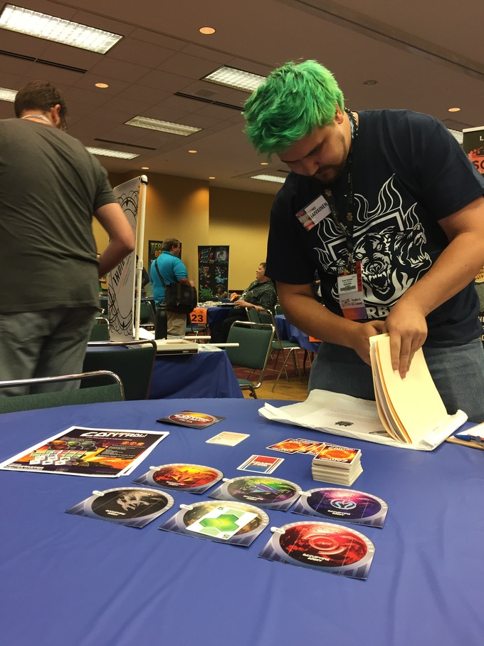 Setting up for a playtest of Sword of the Stars: Control! at GenCon2018