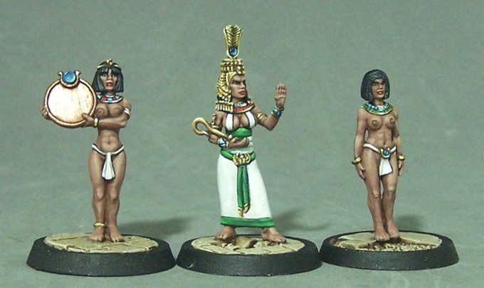 1.  Cleopatra in Egyptian dress with Maid Servants