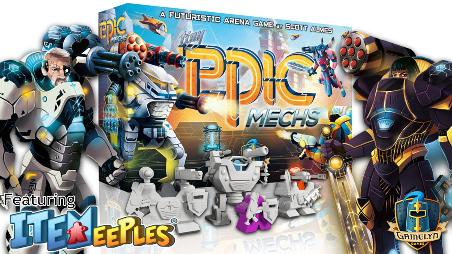 A 1-4 player fast-paced action-programming game of arena combat featuring a Mech and Power Armors to put your ITEMeeples directly into!