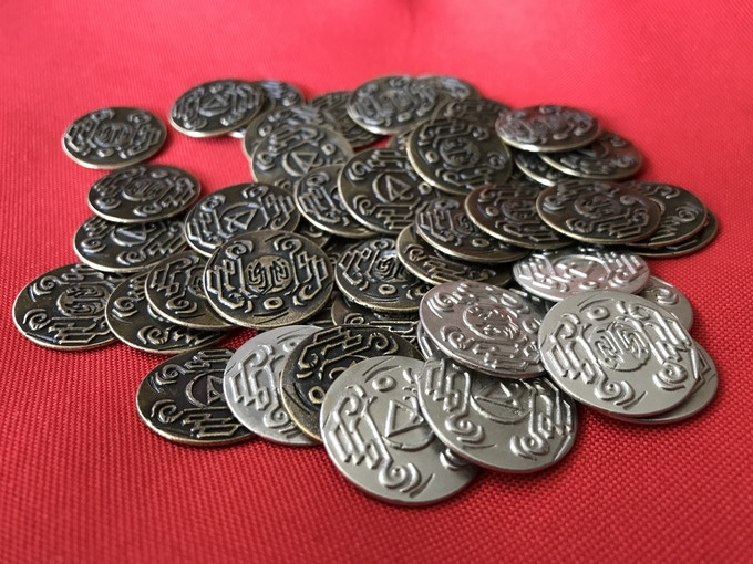 These are the coins from Near and Far, but they give you an idea of what the Ancient World coins will look like. We'll have a production sample soon!