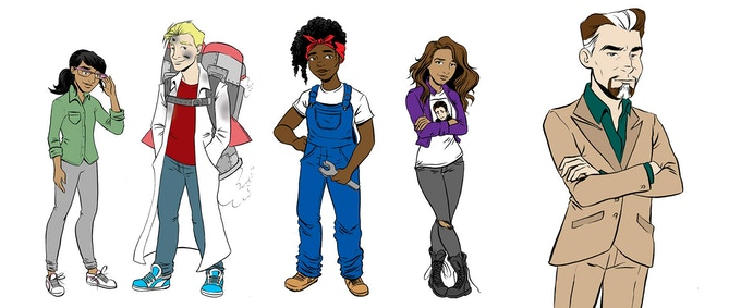 Our main characters (from left to right) Tamsin, AJ, Sally, Garyn and Headmaster Laveran