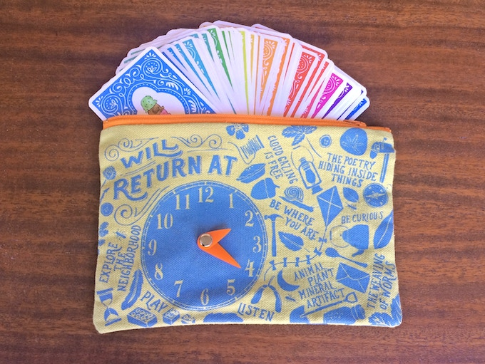 Hand-made, silk-screen pouches to remind you to tuck away your devices and go on tangible adventures!