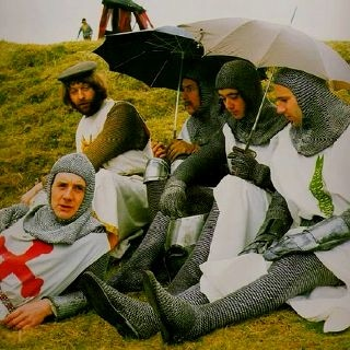 This will be us filming in Scotland in October! Monty Python and the Holy Grail cast. © Python (Monty) Pictures Limited