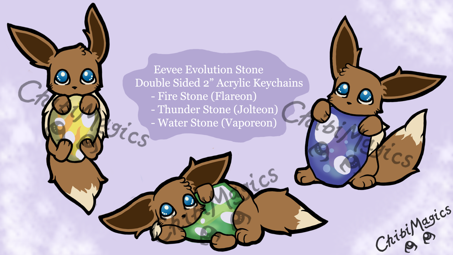 2 Double Sided Pokemon Eevee Evolution Stone Keychains