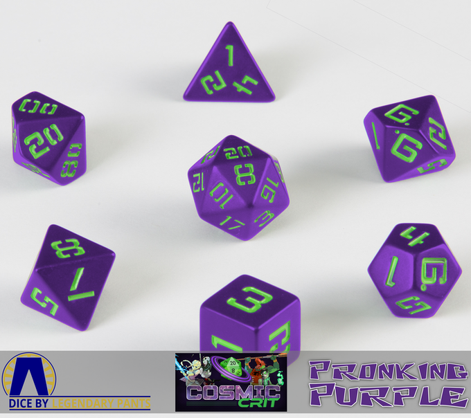 Unlocked! Cosmic Crit podcast official dice. Green on purple with a gloss finish.
