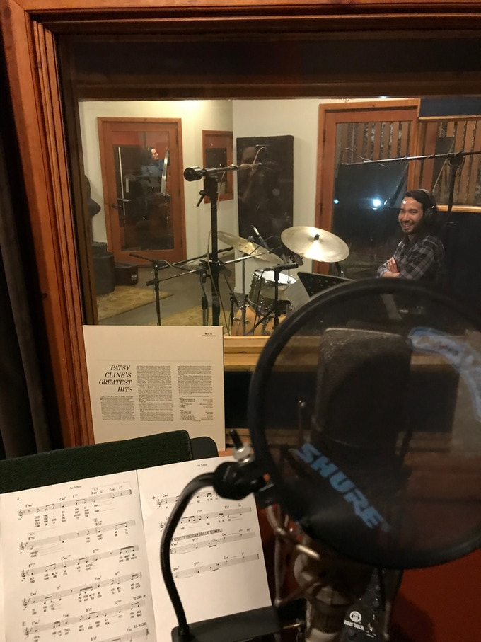 Andrew Boyle on drums preparing to lay down some initial recordings.