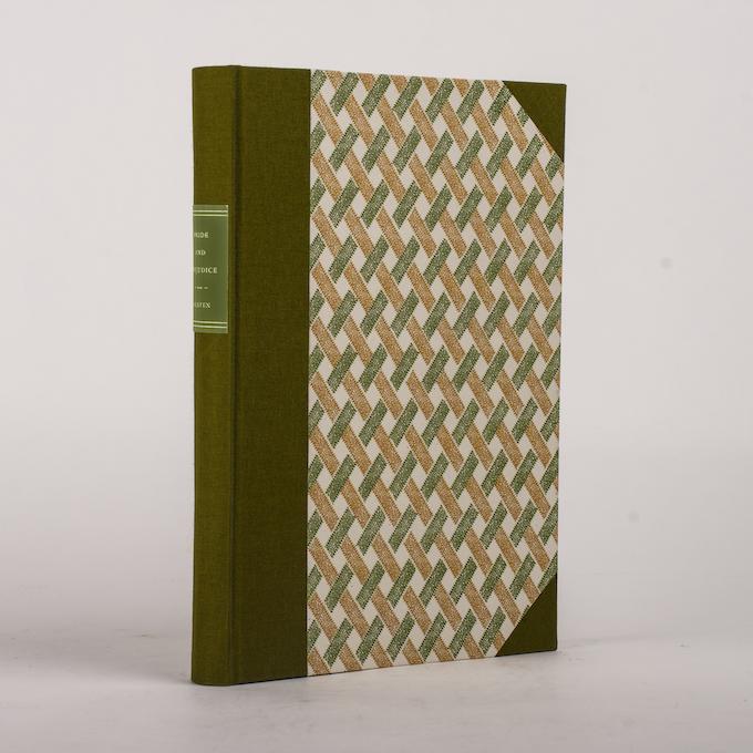 PRIDE AND PREJUDICE bound in half-cloth and letterpress boards.