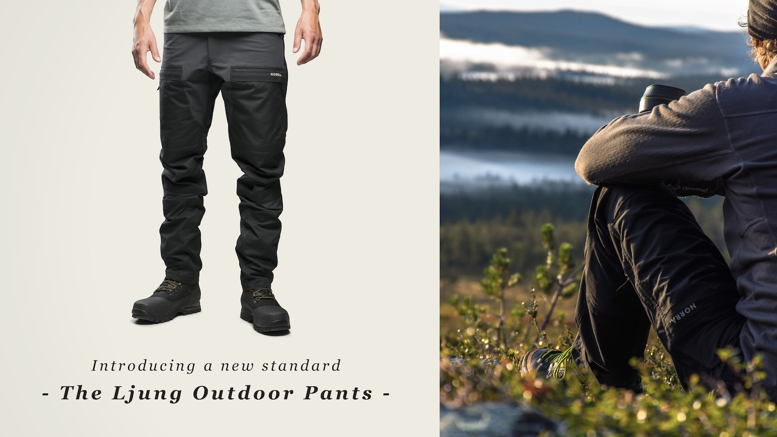 Honest, uncomplicated and functional outdoor pants made from a carefully selected blend of recycled polyester and organic cotton.