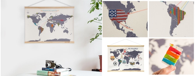 Cross Stitch wall map I designed for Suck UK