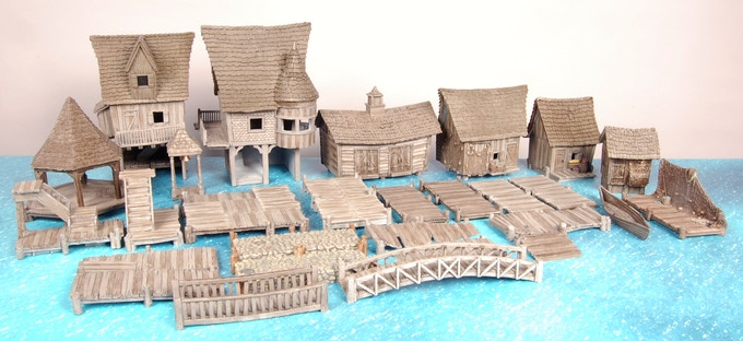 Items contained in the Small Town Pledge Level.  Only one 10418 Ramshackle Jetty shown, comes with two.