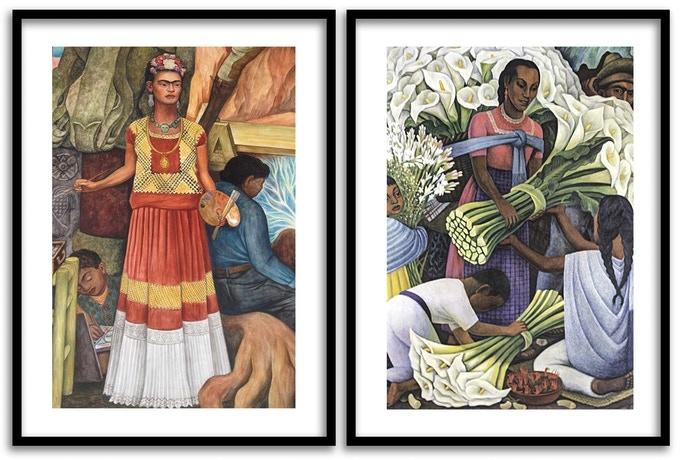 L: Frida Kahlo; R: The Flower Vendor