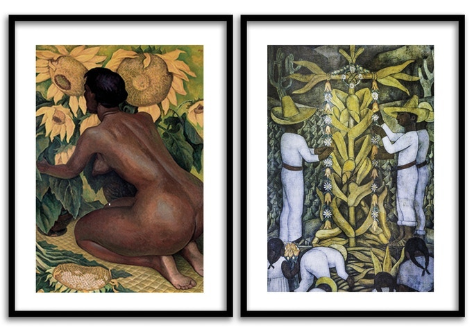 L:  Kneeling woman with Sunflowers; R: The Maize Festival