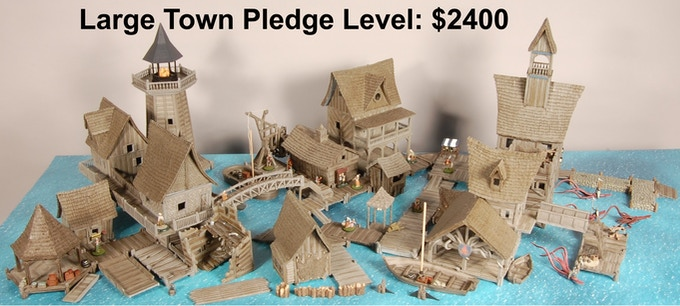 Figures and small accessories not included with pledge level.