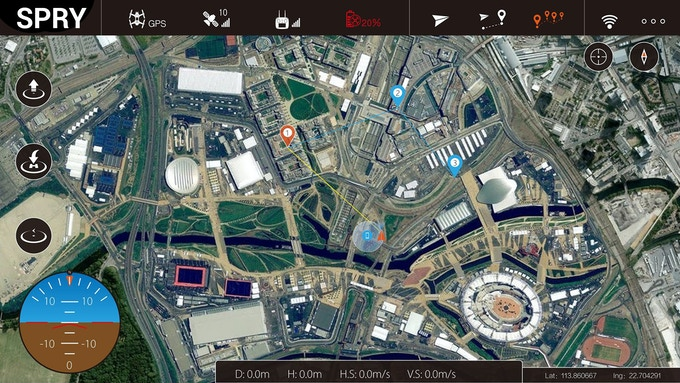 Access the Spry's Robotic abilities via its mobile app and fly a set course by dropping waypoints on the map.
