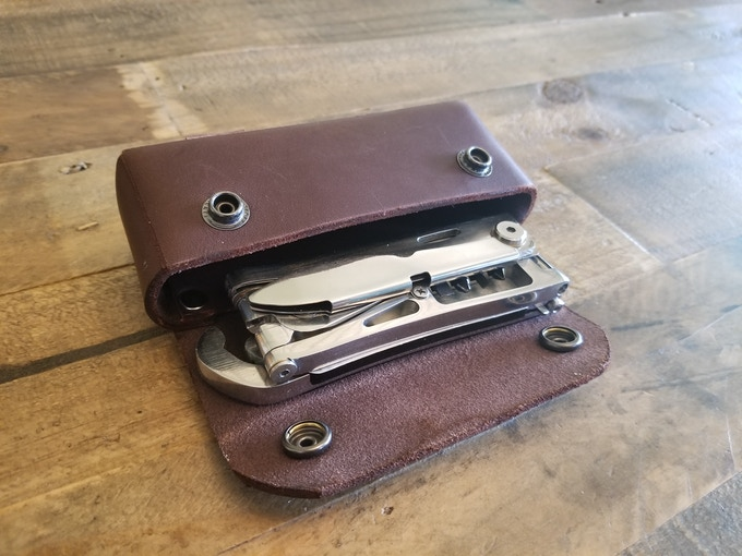 UNION™ shown with prototype leather pouch.