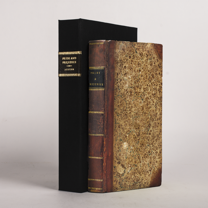 PRIDE AND PREJUDICE bound as a facsimile of the first edition, in half-calf with marbled boards.  This is an example of what the book will aim to resemble.