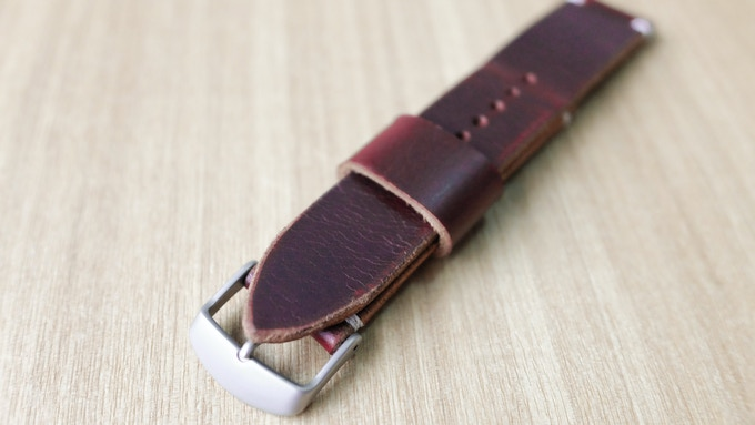 Horween Chromexcel Distressed Burgundy with Side Stitch