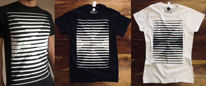 Custom tees by RudViolet, men's (left & centre), women's fitted (right)
