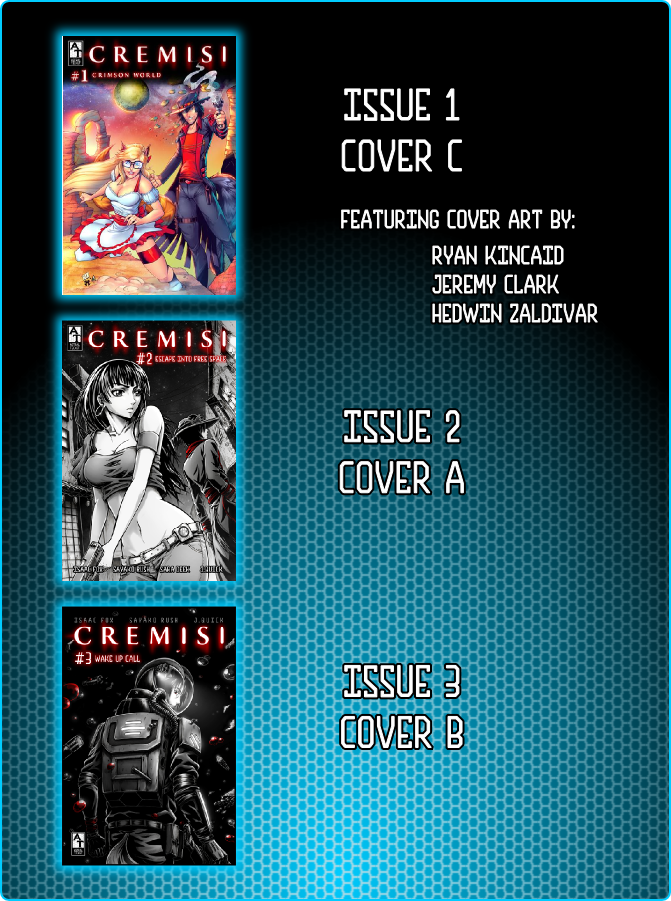 Issues 1, 2 and 3's cover art for this campaign