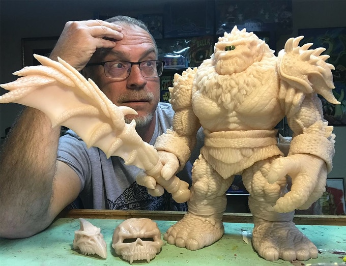 Sculptor James Groman With His Newest Creation, Kaiju Killer!