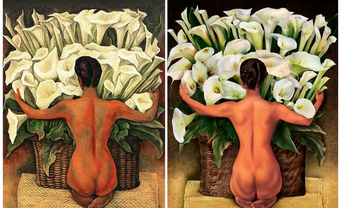 """L: """"Nude with Calla Lilies"""" original painting by Diego Rivera; R: """"Nude with Calla Lilies"""", re-imagined by Harry John Kerker"""