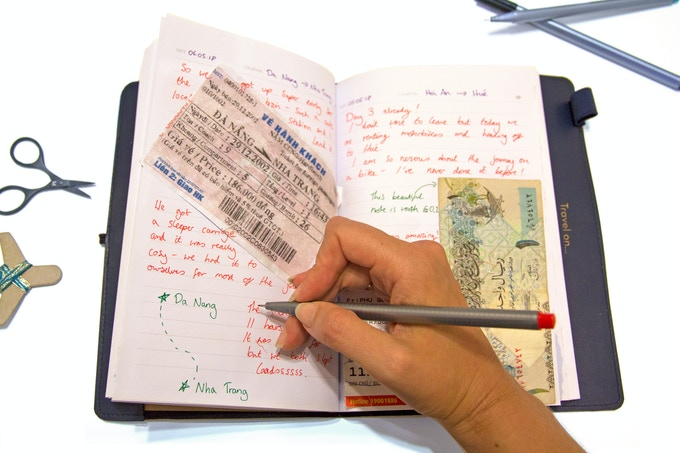 Use the notebook as a journal or scrapbook for your travels